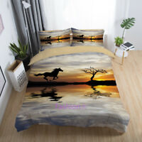 Running Horse Doona/Duvet/Quilt Cover Set Single/Double/Queen/King Size Bed