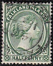 FALKLAND ISLANDS VICTORIA 1892 SG 16ax HALF PENCE GREEN WATERMARK REVERSED USED