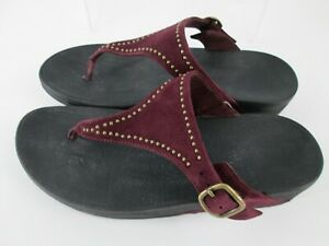 Fitflop Thongs Sandals Shoes Womens Sz 8 Slides Suede Purple Plum Embellished