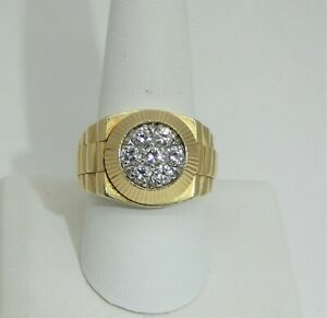 Outstanding Quality Natural Diamonds in this 14k Gold Rolex President Style Ring