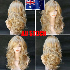 Anime Hairstyle Ladies Long Wave Curly Wig Little Golden Blonde Bouncy Full Wigs