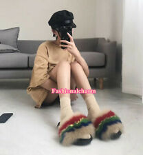 Women's Real Fox Fur Slides Summer Beach Sandals Slippers Holiday Furry Shoes