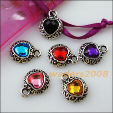 6 New Tibetan Silver Charms Mixed Crystal Clouds Heart Pendants 13x21mm