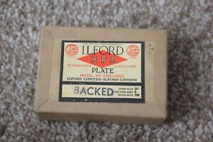 """Vintage Ilford HP3 Glass Camera Plates Boxed Panchromatic 3"""" x 2.5"""""""