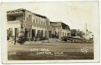 Rare RPPC Photo Postcard Compton California City Hall Earthquake 1933