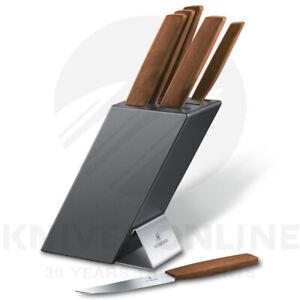 NEW VICTORINOX 6 PIECE SWISS KITCHEN KNIFE BLOCK SET MODERN WALNUT 6.7185.6
