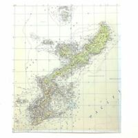 WWII SECRET Navy Okinawa Shima 3D Topographical Map of Submarine Operating Area