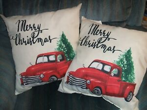 Red Truck MERRY Christmas Tree Throw Pillow SET OF 2 INDOOR OR OUTDOOR NWT NEW