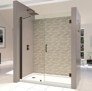 UNIDOOR Shower Door 53-61x 72.OR Bronze,Sat.Black w/Support Arm or Glass Shelves
