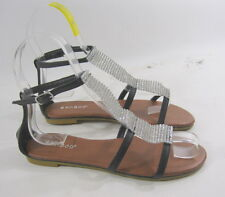 Summer Black/Silver Stones Womens Open Toe Flat Sexy Cool Sandal Size 6