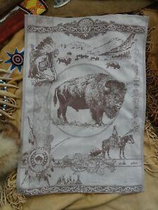 Buffalo Bison Jacquard Woven Tea Towel, Brown Wall Art Southwest Decor Tapestry