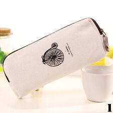 Retro Canvas Pencil Pen Case Cosmetic Makeup Coin Pouch Zipper Bag Purse