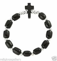 Black Wood Beads Catholic Religious Stretch Bracelet with Cross, Made in Brazil