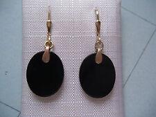 schöne Onyx Ohrhänger Gold 585, Ohrhänger Gold 585 mit Onyx oval