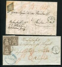 OC936) Switzerland 2x old folded covers Helvetia stamps no res