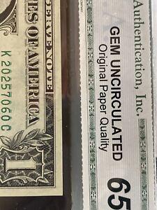 1974 $1 Dollar bill Error Note 65 Gem Choice Uncirculated