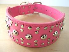 Rounded Studs PU Leather Dog Collar 4 Large, XL Dog, Pink, Black, Camouflage