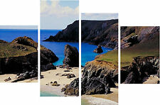 Kyannce Cove Cornwall Canvas Picture 4 Panel Set Cornish Cliff By Beach Holiday