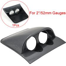 52mm Carbon Fiber Look Dual Hole Pod Car Dashboard Gauge Dash Meter Mount Holder