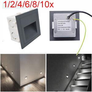 LED Wandeinbauleuchte 230V für UP Dose Treppen Stufen Licht Leuchte Außen Lampe
