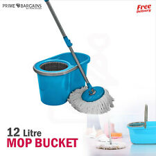 More details for 360° rotating spin mop and bucket set floor cleaning marble tiles cleaner 12l