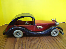"""HANDCRAFTED CLASSICAL WOOD CAR TOY 14"""" Long Vintage"""