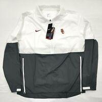 Nike USC Trojans White/Anthracite Half-Zip Light Coaches Jacket M CQ5129-100