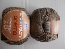 DMC Urban Glam Cinema  wool blend ribbon yarn, tan, lot of 2 (49 yds each)