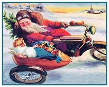 Christmas Scene # 847 Santa Claus Motorcycle Child  Counted Cross Stitch Pattern