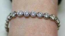 10 ct Round Diamond Tennis Bracelet Bezel 14k Gold, 27 x 0.37 ct each GIA H SI1