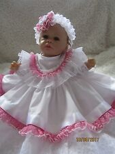 HANDMADE CLOTHES FOR BAby 0-3mths /REBORN doll 16 white/spot two piece  set NEW