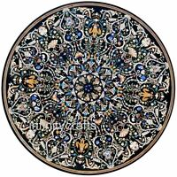 72 Inches Marble Hotel Table Top Round Shape Dining Table Top with Marquetry Art