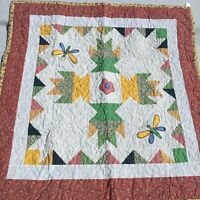 "Butterfly Appliqued Floral Quilt Table Topper 33.5"" x 33.5"""