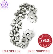 Daisy Flower Hawaiian Adjustable Band Ring 925 Sterting Silver Toe Ring, BoRuo