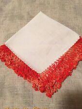 Vintage Linen Hankie Orange Crochet Edge