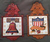 2 Vintage Napcoware Cast Iron Tile E PLURIBUS UNUM Japan Trivet / Hot Plate 1976