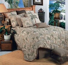 Palm Grove / Kona 6 Pc Twin Size Comforter Bedding Set -Palm Tree Bedroom Beach