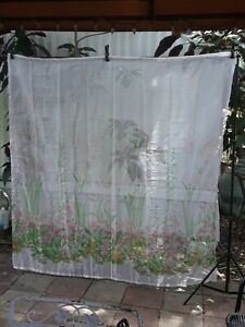 GORGEOUS PINK FLORAL Shower Curtain Retro Mod Sheer  68 X 69  Pink Green Flower