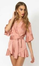 Lioness Rose Pink Nude Silky Playsuit Jumpsuit Shorts Summer