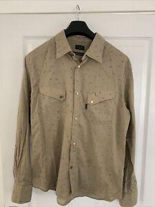Paul Smith Jeans Mens Western Shirt Pearl Snap Button Shirt Medium Bird Pattern