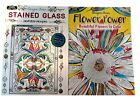 Flower Power  Stained Glass Adult Coloring Book Designer Series Books Set of 2