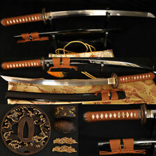 1095 Steel Clay Tempered Full Tang Blade JAPANESE Samurai Sword Wakizashi Sharp