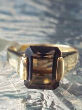 Smokey Topaz Octagon Cut Ring 10kt Solid Yellow Gold