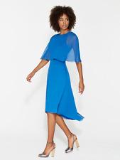 WOMENS NEW Halston Heritage Lapis Blue Tiered Chiffon Dress SIZE 6