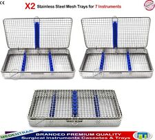 Set of 2 Surgical 7 Instruments Mesh Wire Trays Sterilization Cassettes Racks CE