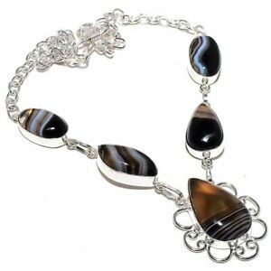 "Botswana Lace Agate Gemstone Handmade Ethnic Silver Jewelry Necklace 18"" RN196"