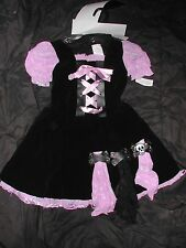 Girls Large 12-14 purple & black Witch Halloween costume w/ hat, Skull accent