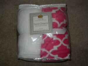"""Lot of 2 Super Soft Microfleece Plush Crib Toddler Bed Sheets 28""""x52"""" White Pink"""