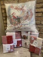 Pottery Barn Buffalo Check Queen  Duvet Nostalgic Santa Sheet Set Shams Pillow