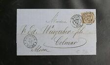 FRANCE TYPE SAGE : 1876/78 N° 69 SEUL SUR LETTRE Oblitéré LE HAVRE 1877 à COLMAR